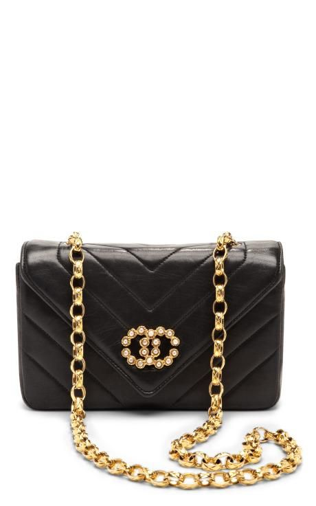 Vintage Chanel Black Chevron With Pearls Bag by What Goes Around Comes Around for Preorder on Moda Operandi