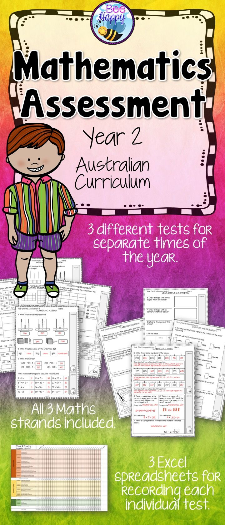 These Maths tests, for year two students, are linked to the Australian Curriculum. They cover Number & Algebra, Measurement & Geometry and Statistics & Probability. This package includes three assessments that will help to provide data that can be used to inform judgements of student achievement at different times of the school year.
