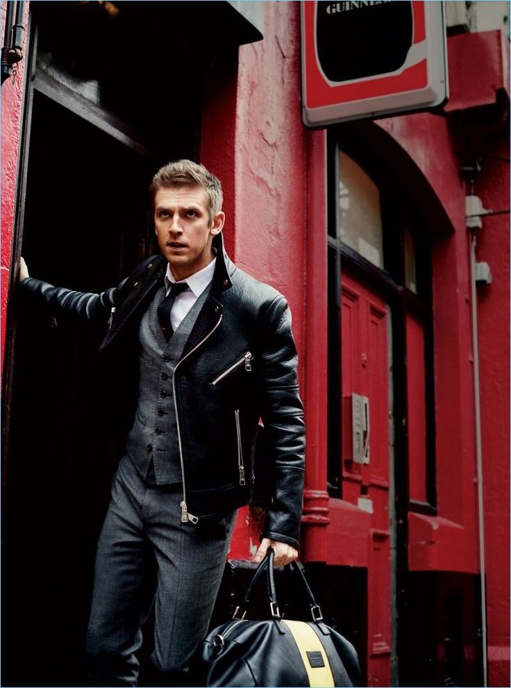 Adding a rebellious edge to a Dsquared2 suit, Dan Stevens rocks a Neil Barrett leather jacket with an Eton shirt.