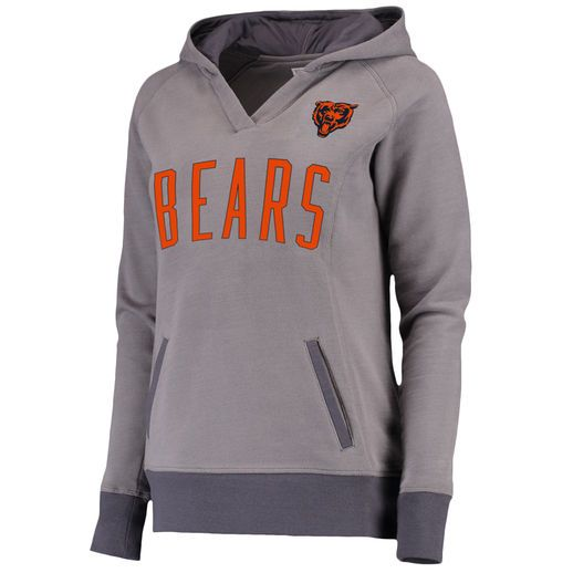 Pro Line Chicago Bears Women's Gray Plus Size Portola V-Neck Hoodie