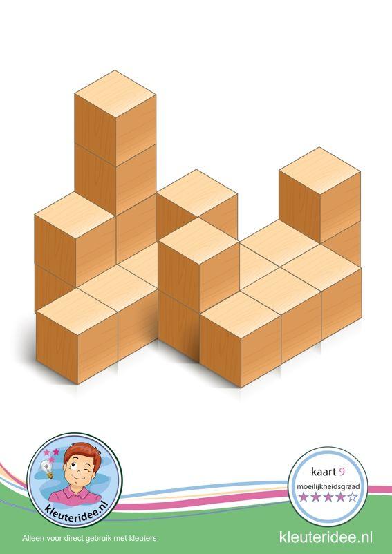 Hoogbegaafde kleuters: Bouwkaart 9 moeilijkheidsgraad 4 voor kleuters, kleuteridee, Preschool card building blocks with toddlers 9, difficulty 4, free printable.