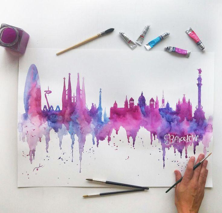 • Skyline inspirado en la ciudad de Barcelona (Cataluña, España). • Color: diferentes tonalidades de rosa, violeta y azul (colores vivos y brillantes) • Disponible las impresiones de la acuarela original (ART PRINT), o si lo prefieres la pintura original hecha a mano, ¡tú eliges! • Est