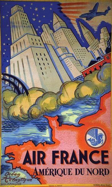 ARNOUX GUY Amérique du Nord Air France  Paris Imp. 1946 Affiche Encadrée / Vintage Poster Framed B.E. B + Déchirures,plis, salissures, manques / tears, folds, dust stains, missing paper Hubert Baille & Cie 97 x 58  Estimation : 800 € - 1 600 €  #airfrance #travel #poster #affiche #Amerique #USA