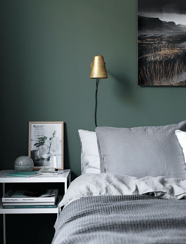Beautiful Dark Green Wall With A Brass Light TREND