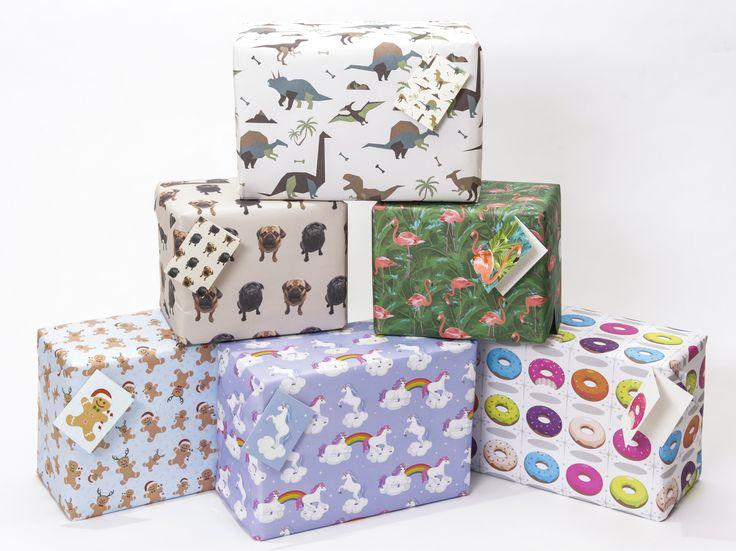 Balící papíry a sety s ladícími visačkami #balícípapír #giftwrap #stationery #pug #flamingo