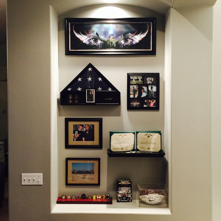 Military memorial gallery wall awards flag case
