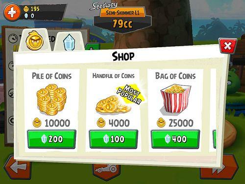 Angry Birds Go! Virtual currency Bank: screenshots, UI