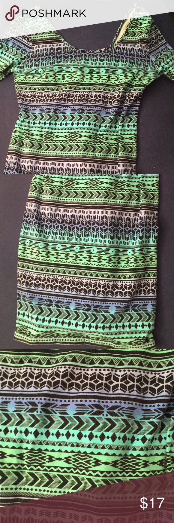 Aztec Print Bodycon Dress Awesome colors! Smoke/pet free as always.  Accepting reasonable offers. Forever 21 Dresses