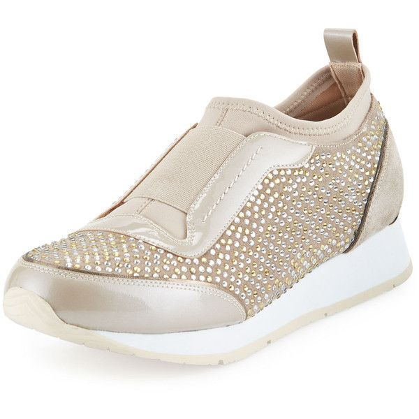Donald J Pliner Ryley Crystal Slip-On Sneaker (3 195 ZAR) ❤ liked on Polyvore featuring shoes, sneakers, beige, short heel shoes, beige shoes, low heel shoes, slip-on shoes and pull on sneakers
