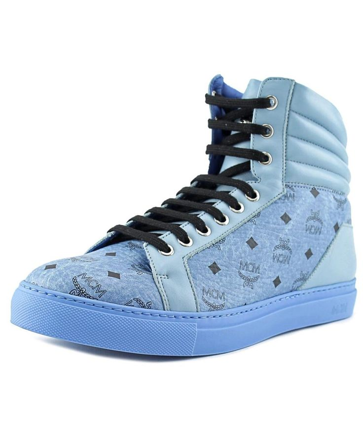 MCM Mcm Carryover High Men   Leather Blue Fashion Sneakers'. #mcm #shoes #sneakers