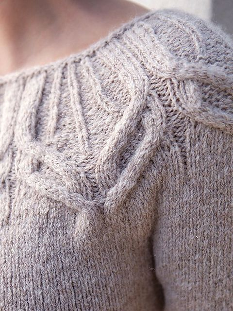 Forster pattern by Norah Gaughan - Top Down with these beautiful cables on the yoke!