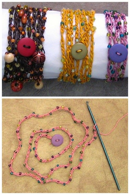 truebluemeandyou: DIY Beaded Hemp Crochet Bracelet Tutorial. I don't crochet, but even I can crochet a simple chain stitch to make these pretty (and cheap) bracelets. Tutorial from Making Jewelry Now here.