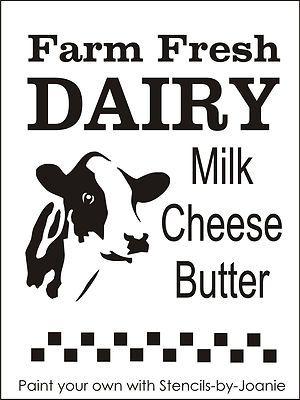 Stencil Farm Fresh Dairy Cow Milk Cheese Butter Holstein