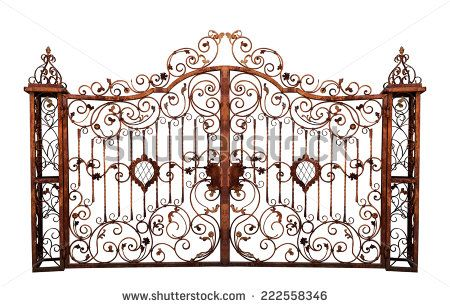 Old rusty gate. Isolated on white background.