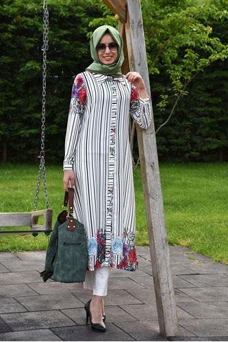 Detayları Göster Modesty Çiçekli Tunik