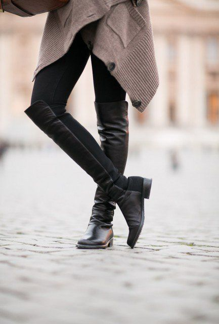 Draped cardigan w/ over the knee riding boots and leggings