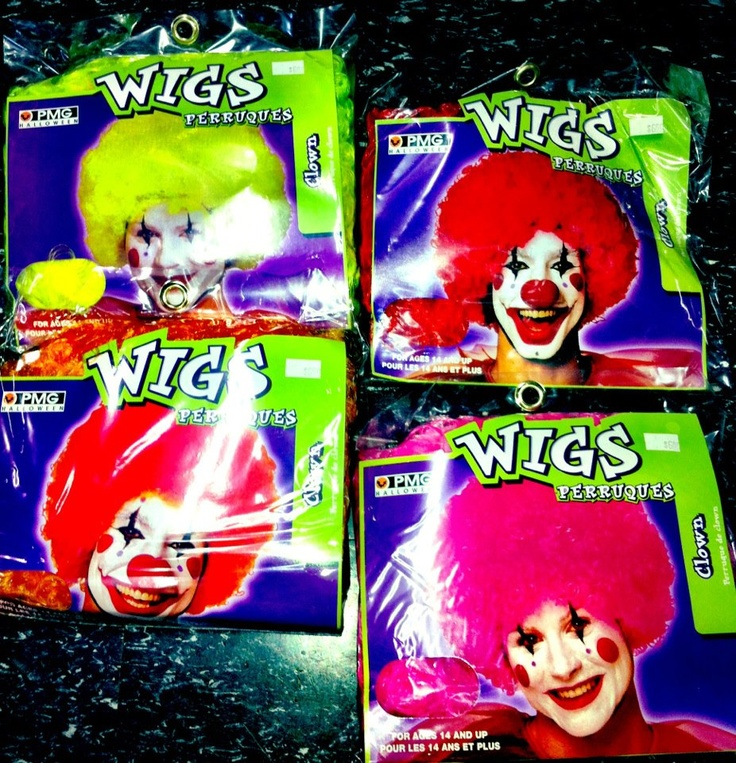 Clown wigs.