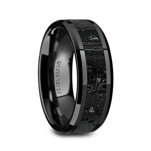 Tungsten Jeweler 8mm Ceramic Black Beveled Edge Meteorite Inlay High Polish Wedding Band Ring for Men or Ladies