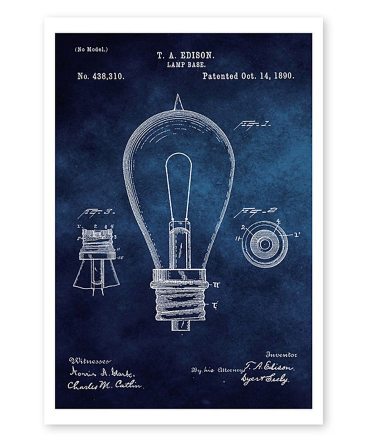 Look at this Edison Lamp Base 1890 Blueprint Art Print on #zulily today!