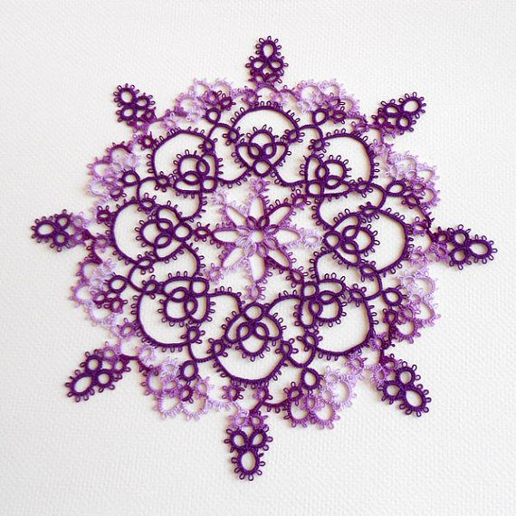 Purple Iris Lace Tatted Doily by PeachtreeCottage