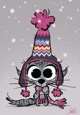 Petit dessin d'un chat en hiver par David Gilson