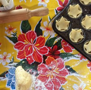 The Mince Pie making has begun, with the help of this Mexican oilcloth tablecloth. http://lasninastextiles.com/product-category/oilcloth-3/