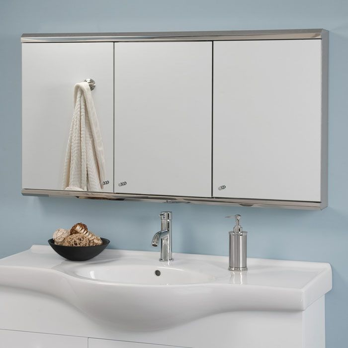 Cosmopolitan Stainless Steel Tri View Medicine Cabinet With Mirror   48 Nice Design