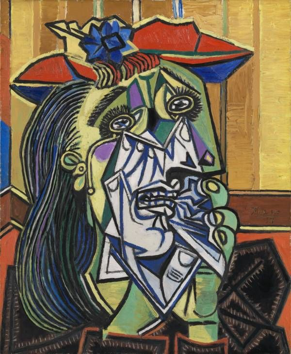 The weeping woman is one of Picasso's most famous pieces of art. He uses shape and colour to create sad emotions. The painting is very abstract because of the weird and wonderful shapes he uses. Colour really shows the deep  emotions of the woman. By using the cold blues and clam greens and yellows, he makes the painting sad.