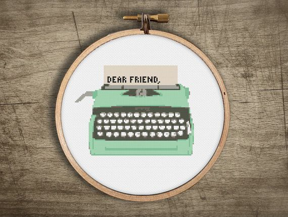 typewriter vintage retro cross stitch pattern ++ modern ++ pdf  INsTAnT DOwNLoAD ++ diy ++ hipster ++ handmade design