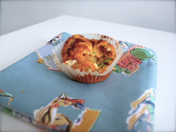Courgette (zucchini), sundried tomatoes and feta savory muffins.