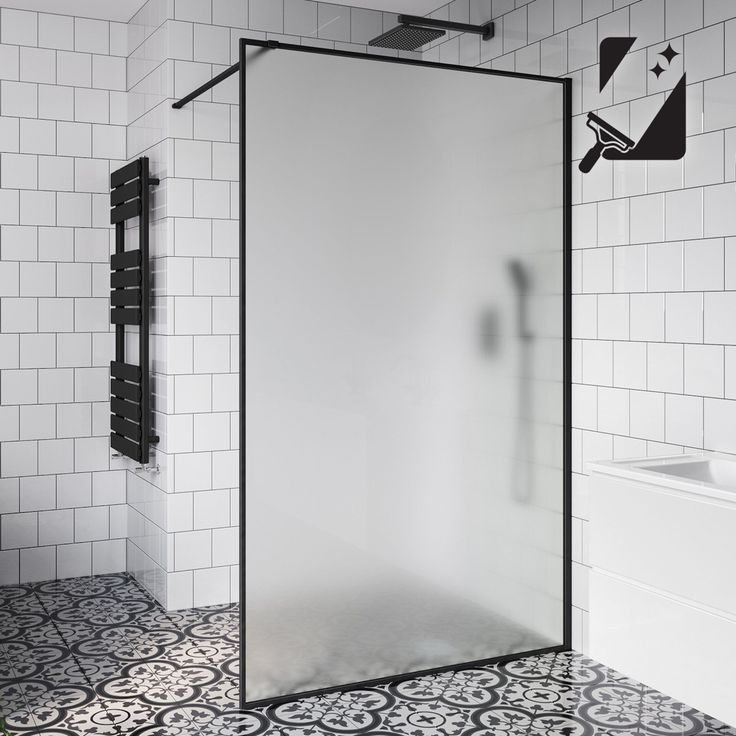 10mm Black Frame Frosted Glass Shower Screen - 1200mm ...
