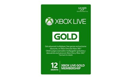 12-month subscription to Xbox Live Gold enables advanced multiplayer options and provides access to free and discounted games