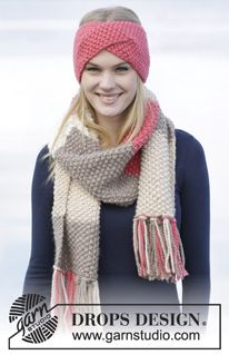 "Set consists of: Knitted DROPS head band and scarf in seed st in ""Andes"". ~ DROPS Design"