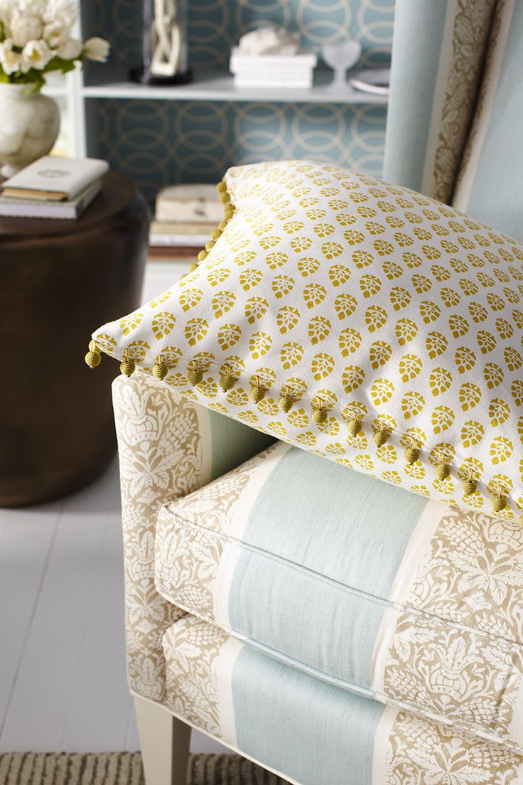 Robert Allen Botanical Color Collection: Robert Allen Fabric, Belle Bloom  In Sunray And Trim