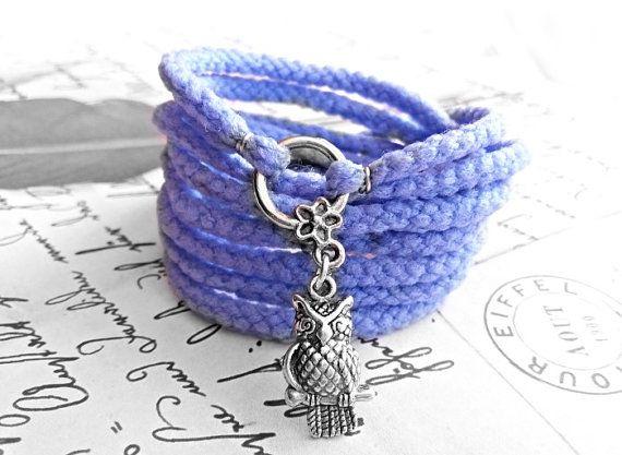 Owl Wrap Bracelet Blue Stretch Wrist Bracelet by JewelryFairyGift