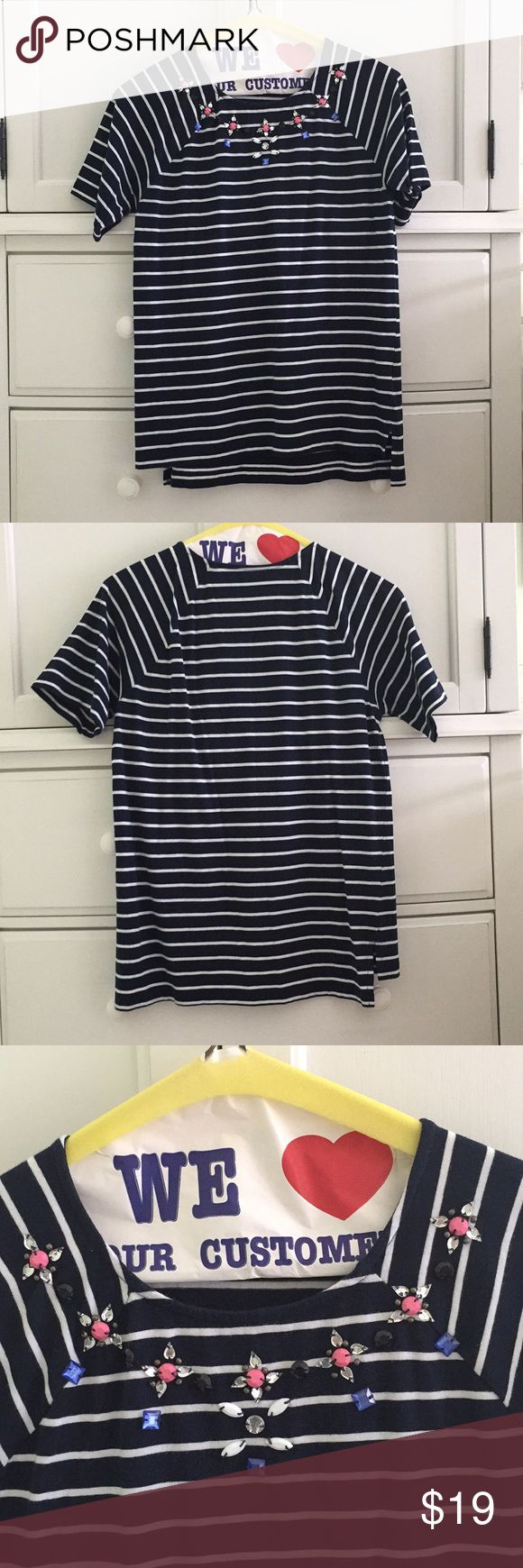 French Connection Jeweled Striped T-Shirt In excellent condition.  Soft, lightweight cotton T-Shirt with gemstones in a floral pattern on the neckline. Navy and white stripe pattern. Purchased at Bloomingdales. French Connection Tops Tees - Short Sleeve
