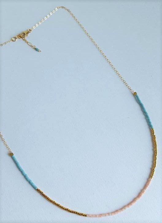 Beaded Pastel Collar Necklace // Tri-Colour // Multi-Colour Minimalist Jewelry…