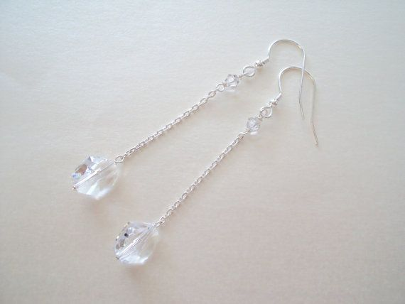 Swarovski Crystal Stylish long dangly earrings in sterling silver (925)