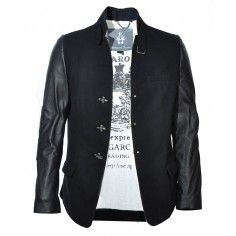 Bolongaro Trevor Raw Ziggy Jacket Black with leather sleeves.