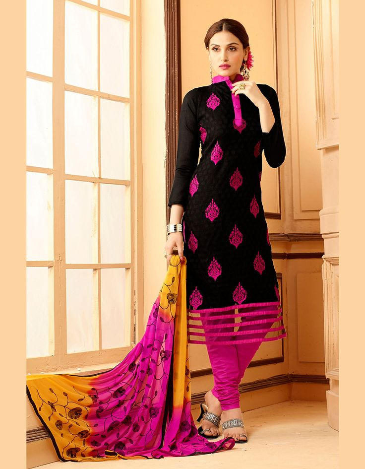Black Chanderi Churidar Suit 67580