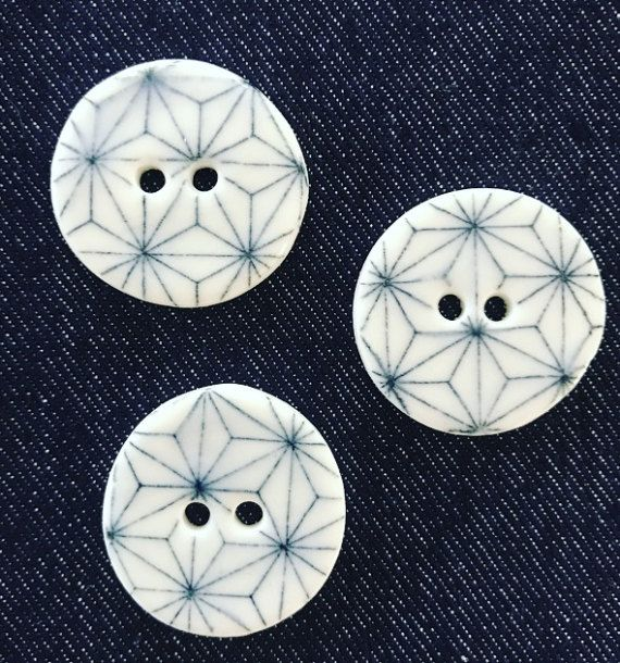 Geometric White  Porcelain Buttons FREE WORLDWIDE SHIPPING