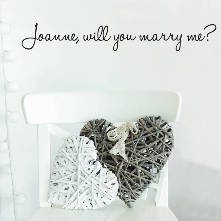 Personalised will you marry me? wall stickerWe offer a wide range of colours, including our standard and design series colours. Please have a look at our colour chart above for more information.Lost for words, then spell it out with our with our personalised 'will you marry me' wall sticker A unique way to pop the big question. All our wall stickers are handmade to order, using industry-leading equipment, ensuring you have a beautiful, high quality design for your home. Our wall stickers are…