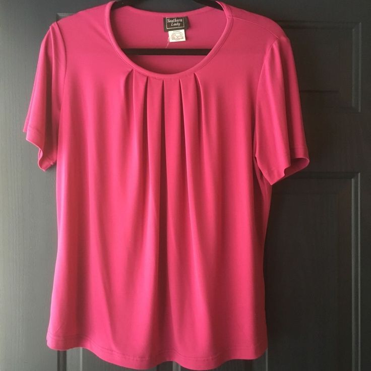 Southern Lady Women Fushia Pink Tunic Top Polyester Spandex M Medium…