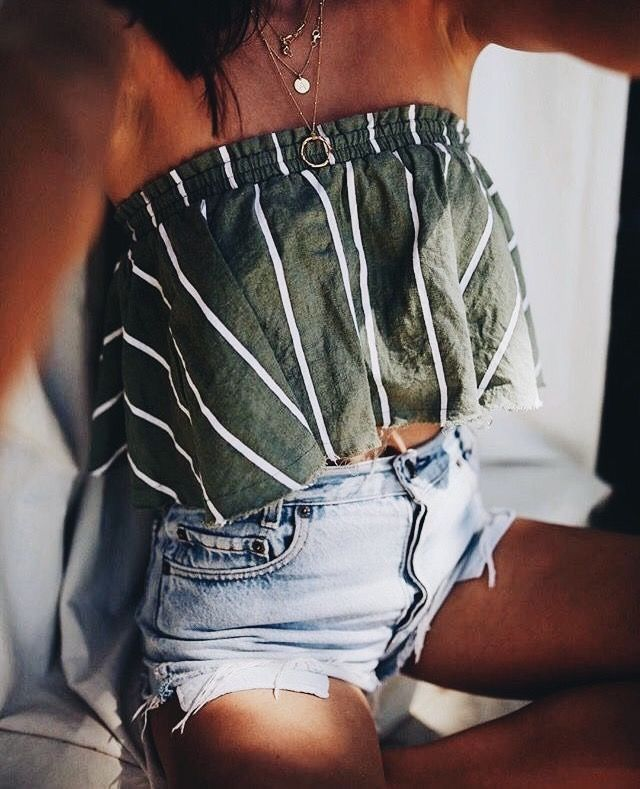 Cute gray and white striped top with distressed denim shorts.