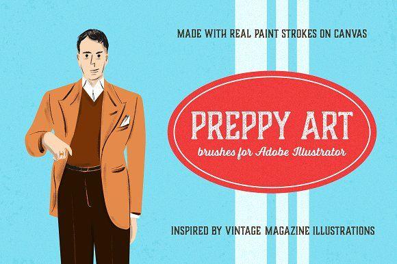 Preppy Art Brushes for Illustrator by Guerillacraft on @creativemarket