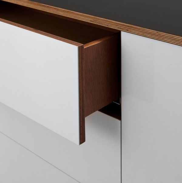 Laminate top, plywood edges, steel fronts
