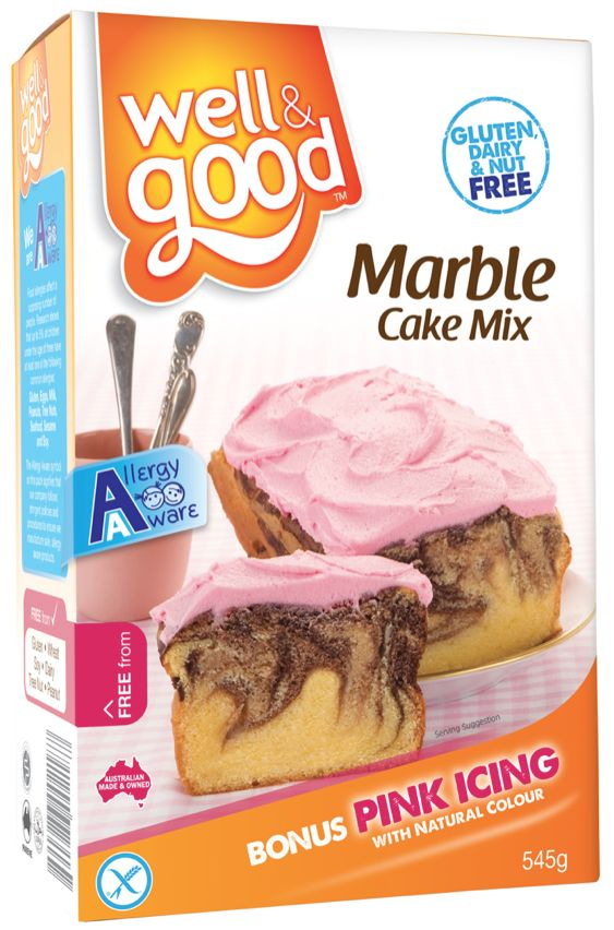 Gluten Free Marble Cake Mix. A delicious marble cake that comes with pink coloured icing. Now displaying the FODMAP Friendly logo!