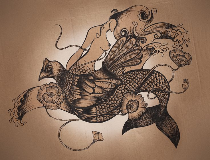 Mermaid and Hen Black ink drawing