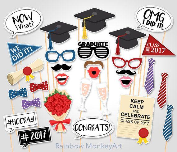 Printable Graduation Photo Booth Props  Graduation Photobooth