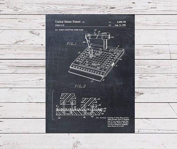 Robot Computer Chess Patent Print  Patent Art Print  Patent